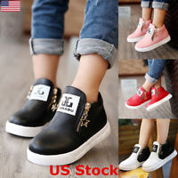 Fashion Kids Girls Sports Casual Leather Soft Shoes Sneakers Zipper Ankle Boots