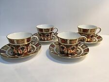 Set of 4 Royal Crown Derby Old Imari Tea Cups Saucers 1st Quality 4 Available