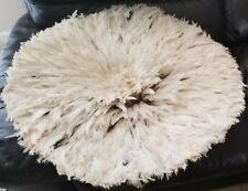 30' Dim Juju-Hat Feather Bamileke/Cameroon African Art_ Ivory/White Color