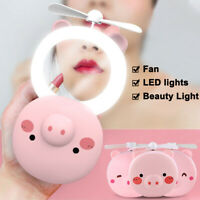 Mini Portable LED Fill Light Makeup Mirror Rechargeable USB Fan Handheld with
