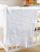 Baby Blanket ~ ABC & Diamond Motif Squares ~ Leaf Edge DK ~ Knitting Pattern