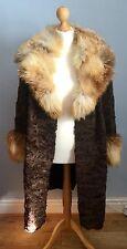 ASTRAKHAN FUR SWING COAT DRAMATIC GOLDEN FOX FUR COLLAR & CUFFS FREE SIZE to 16