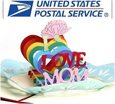 3D Pop Up Greeting Card I love Mom Carnation Flower Mother Day Thanks