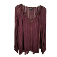 Rock & Republic womens M blouse maroon gold stripes copper studs flowy shirt
