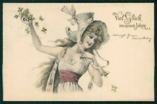 Artist Signed Viennoise Lady Four Leaf Clover postcard TC5146
