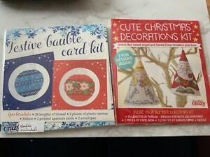2 Christmas Theme Cross Stitch Kits-Cards & Tree Decorations New No Instructions
