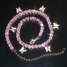 Chic Pink Butterfly Necklace Pendant Clavicle Choker Crystal Chain Women Jewelry