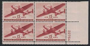 Scott C28- MH Plate Block- 15c Twin Motored Transport Plane- 1941 mint Airmail