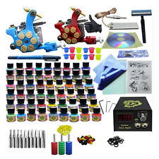 Pro Tattoo Kit 2 Machine 54 Ink Tattoo Needle Foot Pedal Power Supply Kit
