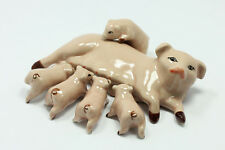 Miniature Ceramic Animals Family pig Figurine Statue Decorative Collectibles