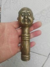 CHINESE OLD BRONZE HANDWORK CARVING 4 FACE BUDDHA STATUE WALKING STICK HEAD