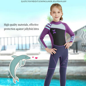 2.5mm Girls Full Length Kids Wetsuit Full Length Childrens Suit Surf Beac