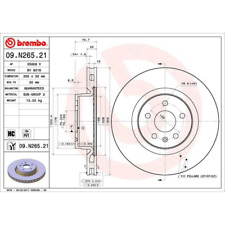 Bremsscheibe COATED DISC LINE - Brembo 09.N265.21