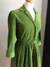 1950s Needlecord Olive Green Corduroy Dress Shirtwaister - Size 12