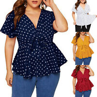 Women's Plus Size V-Neck Short Sleeve Shirt Top Polka Dot Knot Front Blouse Tops