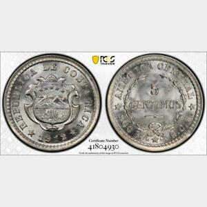 1912 GCR Costa Rica 5 Centimos. PCGS MS 67. KM-145