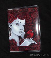 Red Rose Flower Bird Fairy Scarlet ID Business Card Holder Myka Jelina Art