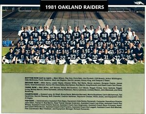 1981 OAKLAND RAIDERS 8X10 TEAM PHOTO FOOTBALL PICTURE NFL