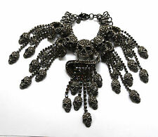 Butler and Wilson Pewter Crystal Skull Swirl Tassell Bracelet NEW SALE RRP £198!