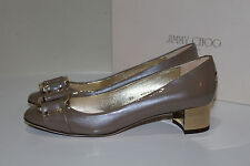New sz 6.5 / 36.5 Jimmy Choo Moore Latte Tan Patent Leather Low Heel Pump Shoes