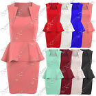WOMENS LADIES SQUARE NECK PEPLUM FRILL SLIM EFFECT DRESS BODYCON SKIRT DRESSES
