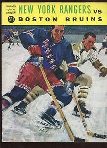1964/1965 NHL Hockey Program Boston Bruins at New York Rangers EX