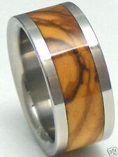 Titanium Ring With Bethlehem Olive Wood Inlay - FREE Ring Box