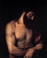 Huge art Oil painting Tiziano Vecellio - Ecce Homo Male portrait Christ canvas