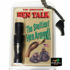 TIM GROUNDS HEN TALK DOUBLE REED DUCK CALL ABS WITH PINTAIL TEAL WHISTLE BLACK