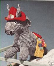 Vintage Knitting PATTERN to make Donkey Foal Stuffed Animal Soft Toy Hat Donkey