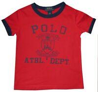 RALPH LAUREN POLO ATHLETIC DEPT RINGER T SHIRT RL RED BLUE KIDS BOYS 4