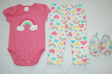 Baby Girls 3 PC SET T-Shirt Leggings Shoes RAINBOWS HEARTS Coral Teal 3-6 MO