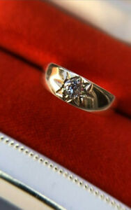 """Antique Diamond Solitaire """"Gypsy"""" Ring - Gold Band"""