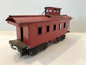 1920'S IVES RAILWAY LINES PREWAR TRAINS -RED CABOOSE NO. 195- STANDARD GAUGE VG