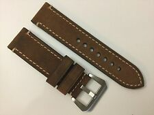 NEW 24MM BROWN GENUINE CRAZY HORSE LEATHER STRAP BAND BRACELET FOR PANERAI