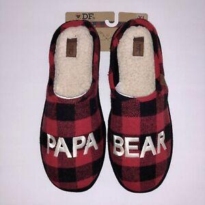 NEW DF by Dearfoams Buffalo Check Papa Bear Slippers Men's Size XL 13/14 Sherpa