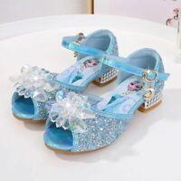 New Kids Girls Sandals Froze22 Princess Fancy Up Party Sequin Glitter Elsa Shoes