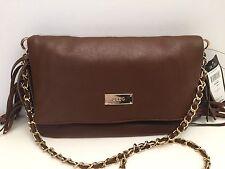 BCBG Women's Handbag *Brown Gold Chain Fringed Shoulder Purse $120