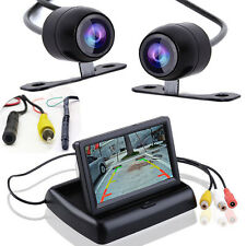 """2x Car Rear Back Side Front View Parking 170° CCD Camera + 4.3"""" Fold HD Monitor"""