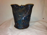 VTG 2002 Wedding Pottery Cup Vase Signed Brown Aqua Blue