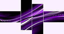 Large Extra Long 4 Panel Set Super Black White Purple Lilac Wall Art Prints