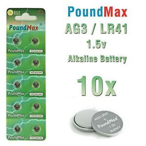 10 X AG3 Super LR41 AG3 SR41 192 392 1.5v  PoundMax ALKALINE BUTTON BATTERY