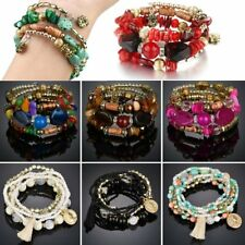 Charm Womens Jewellery Multilayer Natural Stone Crystal Bangle Beaded Bracelet
