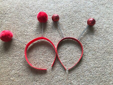 RED NOSE DAY HEADBANDS DEELY BOPPERS BOBBLE HEADS X2