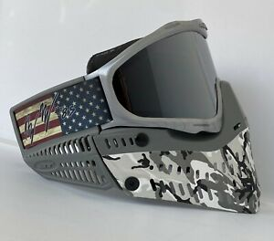 NEW JT Proflex Snow Camo Grey Ear Mutiny Sliver Frame Paintball Mask Goggle