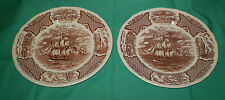 2 ALFRED MEAKIN FAIR WINDS (the friendship of salem) HISTORICAL SCENES PLATES