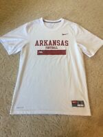 Nike Team Arkansas Football Razorbacks White Dri-Fit T-Shirt Men's Size Small