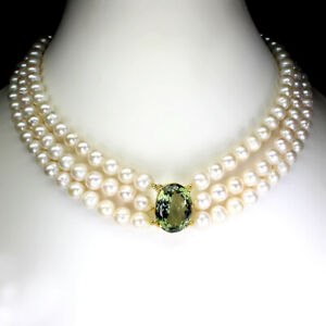Oval Green Amethyst 20x15mm Pearl 925 Sterling Silver Necklace 17.5 Inches