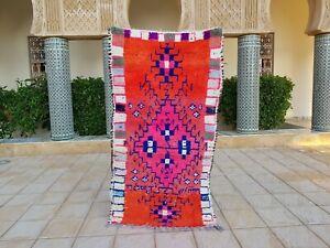 "Moroccan Vintage Boucherouite Rug 5'9""x3'4 Ft HandMade Berber Carpet, Azilal rug"