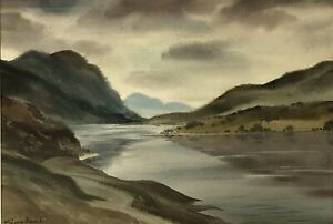 """George William Mansell (1915-1964) """"Mountain Lake"""" Watercolour Painting"""